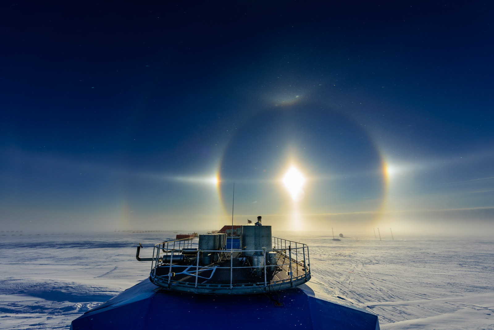 22° and 46°Sun Halos, Sun Dogs, Parhelic Circle, Upper Tangent Arc and Circum Zenithal Arc visible over Halley Research Station, Antarctica