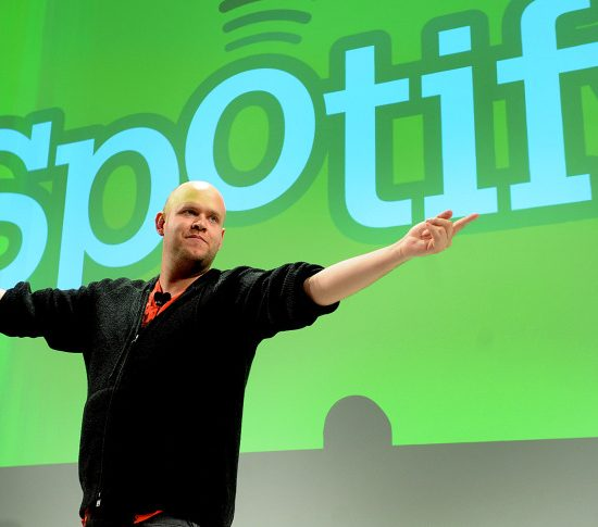 Daniel Ek, chief executive officer of Spotify Ltd., speaks at a news conference in New York, U.S., on Wednesday, Nov. 30, 2011. Spotify Ltd., the music-streaming service, will open its site to software developers to attract new users with features such as ticket sales and song lyrics. Photographer: Louis Lanzano/ Bloomberg via Getty Images